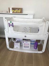 SnuzPod2 Bedside Crib with Mattress + Bedding Set - Good Condition Ex Demo