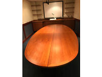 Pieced Conference Table (4 Sections) - Cherry Dark Wooden Vener & 8 Stackable Chairs