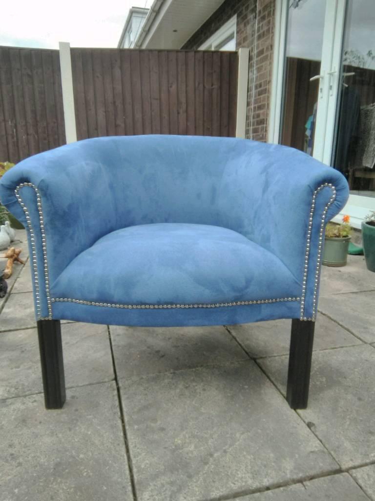 Modern dusky blue tub chair. | in Stalybridge, Manchester | Gumtree