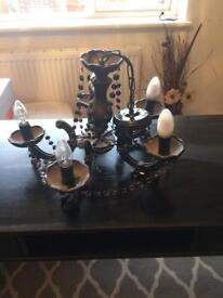 Black glass chandelier