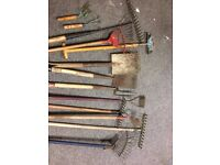 Job lot of vintage garden tools