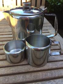 Teapot, milk jug & sugar bowl all in stainless steel