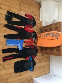 Range of childrens wetsuits and surfing equipment-suitable for ages 5-12