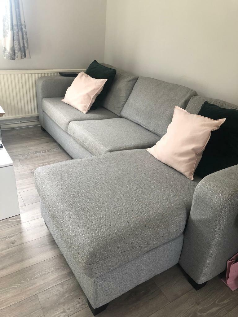 DFS Grey Fabric Right Hand Facing Corner Sofa