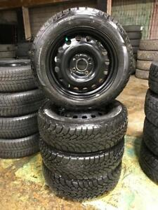 185 60R 15 GOODYEAR NORDIC WINTER SNOW TIRES & RIMS 4X108 FORD FOCUS FIESTA 11/32NDS TREAD DOT 1215 IN MINT CONDITION