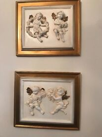 Plaster Cherubs with Coloured Gold Frames