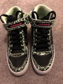 Adidas high top boots wedge size 5