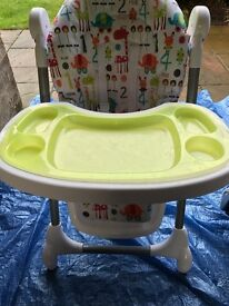 Highchair - Mamas and Papas Snax. Height adjustable and reclining