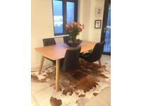 Oak extending table seats 12 with 8 leather chairs