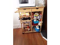 Argos Pine Tile Top Kitchen Trolley