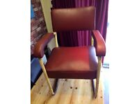 RED/BURGUNDY INDUSTRIAL VINTAGE ARMCHAIR - 1956 - CAN DELIVER
