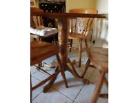 80cm round solid wood table +4 solid wood chairs