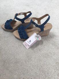 BNWT Sainsbury's Ladies blue wedge sandals. Size 5