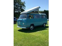 VW T2 Camper. Restored 2014 inc. new engine. MOT/tax exempt. 4 berth. Sold with awning and bikerack.