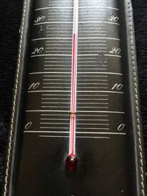 "Very stylish BLACK+RED Vintage colours: original Wall Thermometer - Design ""60s"