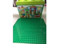 Box of DUPLO and board