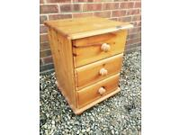 Solid chunky pine bedside table. Dovetail Joints. C