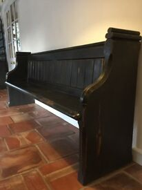 Beautiful dark church pew