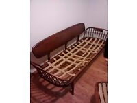 Ercol studio couch and chairs - wooden frames (in need of restoration)