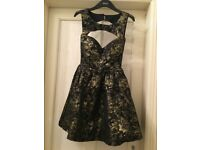 Rare London Prom evening dress, size 6, black and gold
