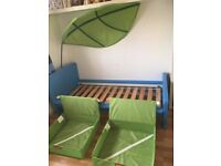 Ikea Mammut blue junior bed with leaf and 2 under bed storages.