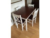 Wooden Pine Table and Four Chairs