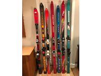 Selection of second hand skis, ski poles and ski bags