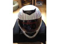 New ladies crash helmet unwanted gift size medium. White with pink butterflies