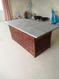 Coffee Table. White quartz on rattan box. Located DA4 0DH
