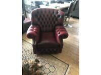 Burgundy leather deep buttoned chair