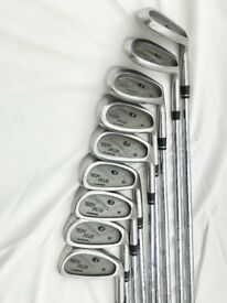 Golf clubs - set of twelve clubs (right handed) with carrying bag and trolley