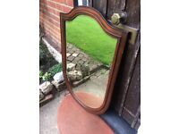 Original Large Antique Victorian/ Early Edwardian Shield Shaped Mahogany Framed Wall Mirror c1900