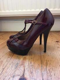 Burgundy Patent Stilletoes - Miss Selfridge