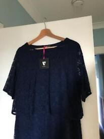 Navy lace dress by Very with tags size 20