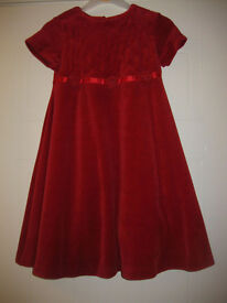 M&S RED VELOUR PARTY DRESS age 3-4 BEAUTIFUL DRESS - IMMACULATE CONDITION - REDUCED AGAIN!!!