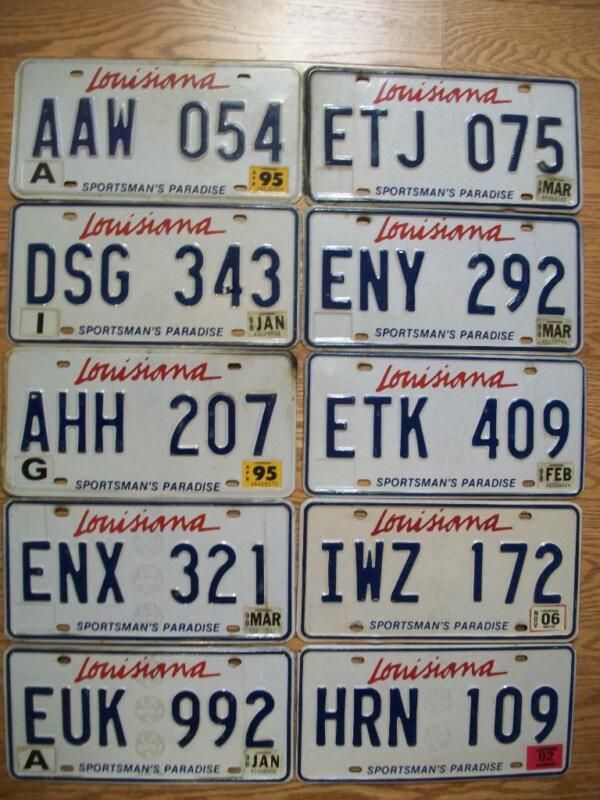 LOT of 10 LOUISIANA LICENSE PLATES - 1995 - 2006 - SPORTSMAN
