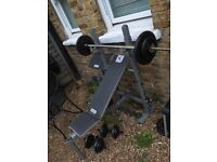 Weights bench, barbell and dumbell set