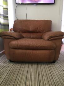 Natuzzi large brown leather armchair
