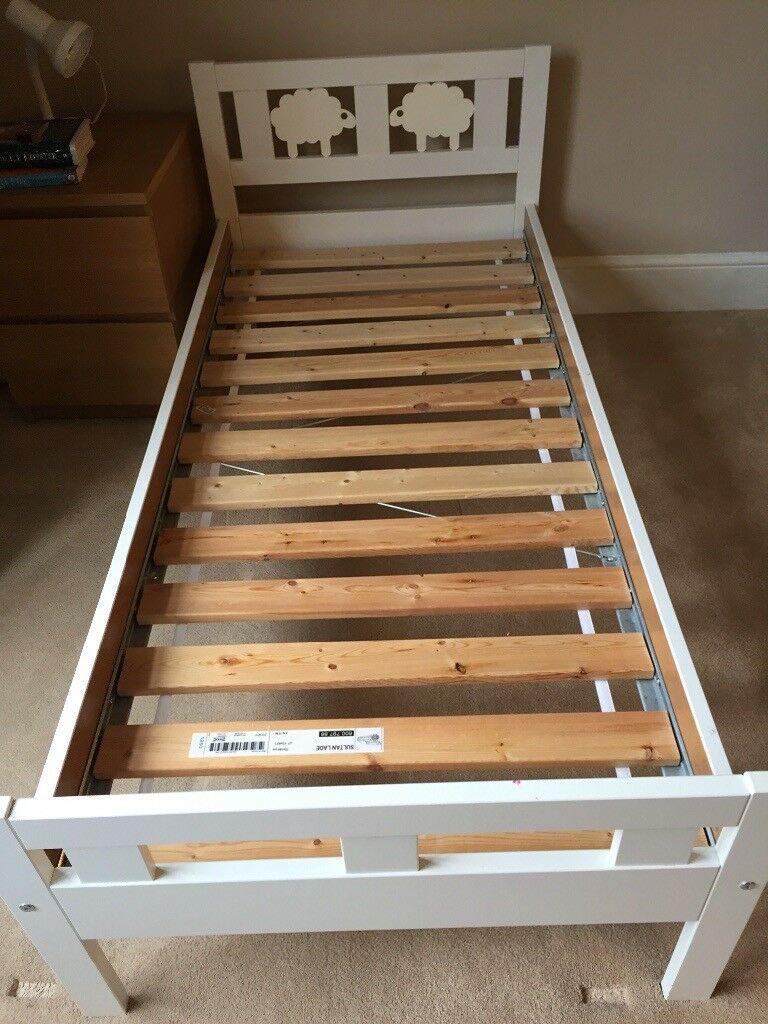 """Ikea kids """"KRITTER"""" white bed with slated bed base and ..."""