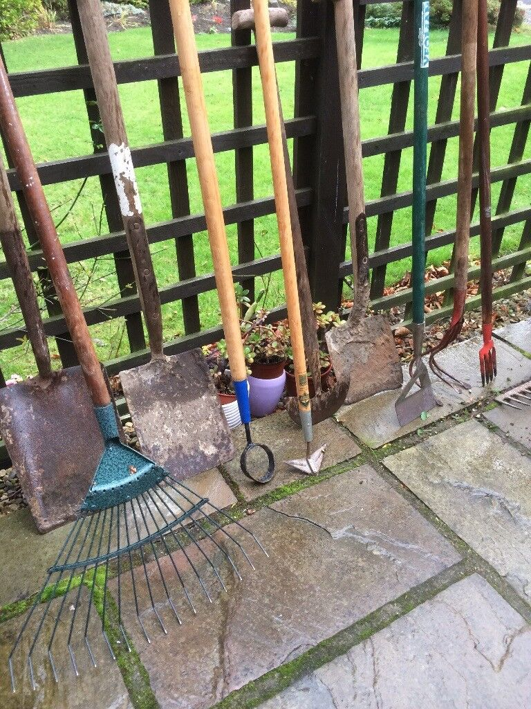 Garden rakes, hoes and spades for sale