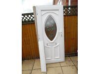 SMALL WHITE UPVC DOUBLE GLAZED COTTAGE DOOR C/W ROSE LEADED MOTIF