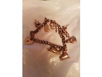 hallmarked 9crt gold charm braclet