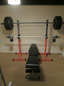 High quality olympic bar, technique bar, bumber plates, bench and squat rack