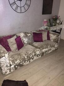 ****Silver crushed velvet sofa****