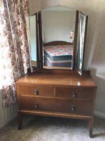 Vintage bedroom suite, wardrobe, drawers & dressing table
