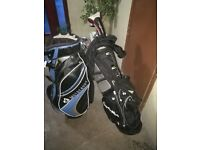 Motocaddy cart bag and tailor-made carry bag with clubs