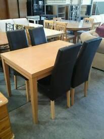 Oak effect table & 4 chairs
