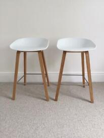 HAY Oak stool with matt white seat (pair)