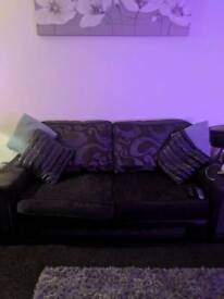 3 seater grey sofa & swivel chair
