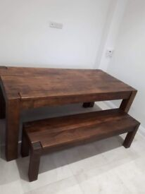 Indian Oak Table, Bench and 2 Chairs